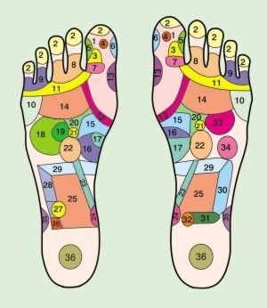 Refleksologia, greendetox, mapa stopy
